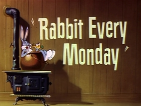 Screenshots from the 1951 Warner Bros. cartoon Rabbit Every Monday