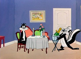 Screenshots from the 1951 Warner Brothers cartoon Scent-imental Romeo