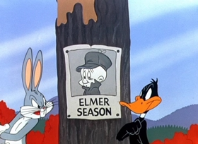 Screenshots from the 1951 Warner Brothers cartoon Rabbit Fire