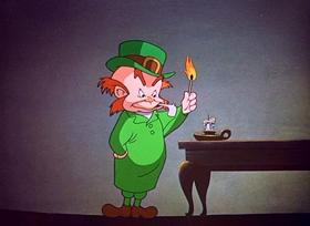 Screenshots from the 1951 Warner Brothers cartoon The Wearing of the Grin