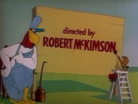 Screenshots from the 1951 Warner Brothers cartoon Leghorn Swoggled
