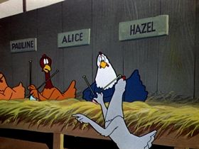 Screenshots from the 1951 Warner Brothers cartoon Lovelorn Leghorn