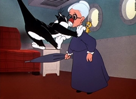 Screenshots from the 1951 Warner Brothers cartoon Tweety