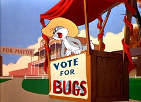 Screenshots from the 1951 Warner Brothers cartoon Ballot Box Bunny