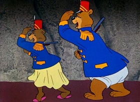 Screenshots from the 1951 Warner Bros. cartoon A Bear for Punishment
