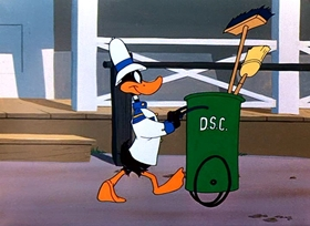 Screenshots from the 1951 Warner Brothers cartoon Drip-Along Daffy