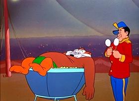 Screenshots from the 1951 Warner Brothers cartoon Big Top Bunny