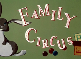 Screenshots from the 1951 UPA cartoon The Family Circus