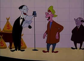 Screenshots from the 1951 UPA cartoon Barefaced Flatfoot