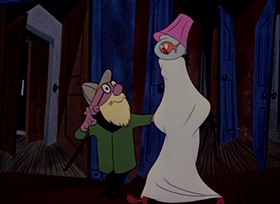 Screenshots from the 1951 UPA cartoon Barefaced Flatfoot