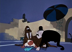 Screenshots from the 1951 UPA cartoon Fuddy Duddy Buddy