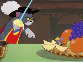 Screenshots from the 1952 MGM cartoon Two Mousketeers