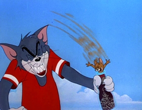 Screenshots from the 1952 MGM cartoon Smitten Kitten