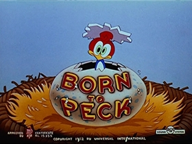 Screenshots from the 1952 Walter Lantz cartoon Born to Peck