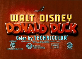 Screenshots from the 1952 Disney cartoon Donald Applecore