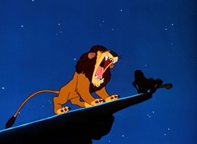 Screenshots from the 1952 Disney cartoon Lambert the Sheepish Lion