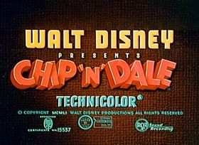 Screenshots from the 1952 Disney cartoon Two Chips and a Miss