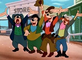 Screenshots from the 1952 Disney cartoon Two Gun Goofy