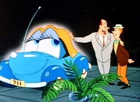 Screenshots from the 1952 Disney cartoon Susie the Little Blue Coupe