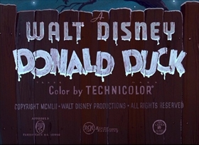 Screenshots from the 1952 Disney cartoon Trick or Treat
