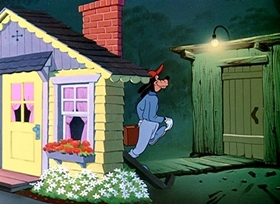 Screenshots from the 1952 Disney cartoon Two Weeks Vacation