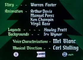 Screenshots from the 1952 Warner Brothers cartoon Gift Wrapped