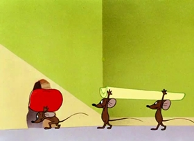 Screenshots from the 1952 Warner Brothers cartoon Kiddin