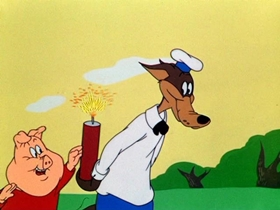 Screenshots from the 1952 Warner Brothers cartoon The Turn-Tale Wolf