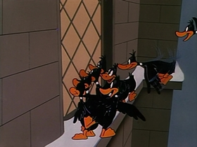Screenshots from the 1952 Warner Brothers cartoon Cracked Quack
