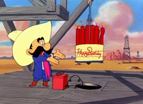 Screenshots from the 1952 Warner Brothers cartoon Oily Hare