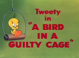 Screenshots from the 1952 Warner Brothers cartoon Bird in a Guilty Cage