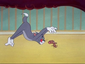 Screenshots from the 1953 MGM cartoon Johann Mouse