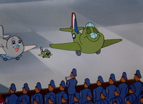 Screenshots from the 1953 MGM cartoon Little Johnny Jet