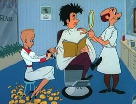 Screenshots from the 1953 MGM cartoon T. V. of Tomorrow