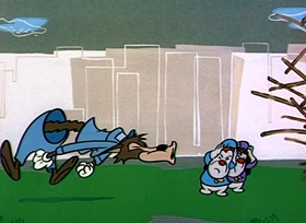 Screenshots from the 1953 MGM cartoon Three Little Pups
