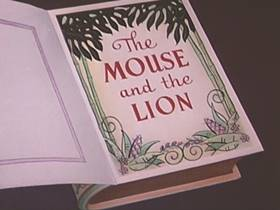 Screenshots from the 1953 Walter Lantz cartoon The Mouse and the Lion
