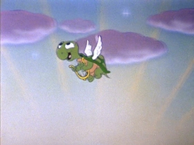 Screenshots from the 1953 Walter Lantz cartoon The Flying Turtle
