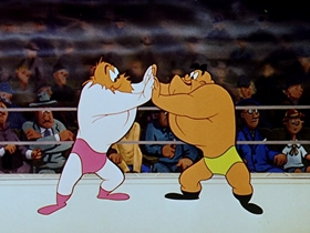 Screenshots from the 1953 Walter Lantz cartoon Wrestling Wrecks