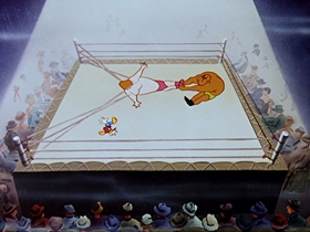 Screenshots from the 1953 Walter Lantz cartoon Wrestling Wrecks