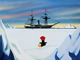 Screenshots from the 1953 Walter Lantz cartoon Chilly Willy
