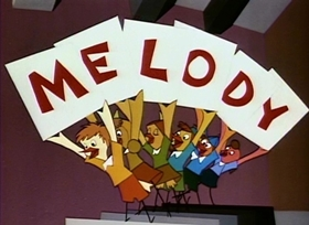Screenshots from the 1953 Disney cartoon Melody