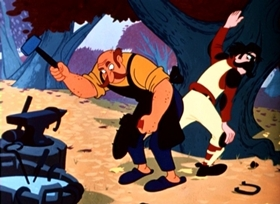 Screenshots from the 1953 Disney cartoon Football Now and Then