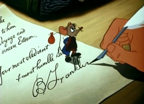 Screenshots from the 1953 Disney cartoon Ben and Me