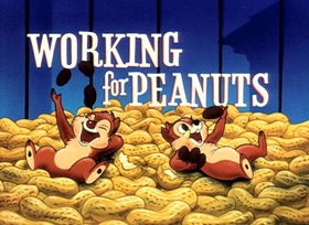 Screenshots from the 1953 Disney cartoon Working for Peanuts