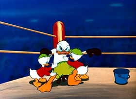 Screenshots from the 1953 Disney cartoon Canvas Back Duck