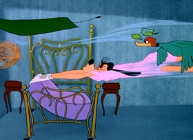 Screenshots from the 1953 Disney cartoon How to Sleep