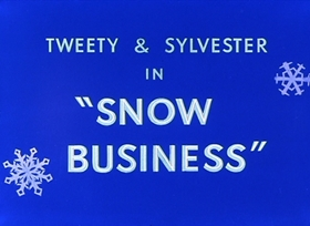 Screenshots from the 1953 Warner Brothers cartoon Snow Business