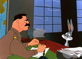 Screenshots from the 1953 Warner Brothers cartoon Forward March Hare
