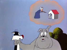 Screenshots from the 1953 Warner Brothers cartoon Fowl Weather