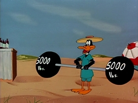 Screenshots from the 1953 Warner Brothers cartoon Muscle Tussle